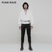 Men Clothing Sleeve-Shirts Collar Long-Lantern Punk-Rave Retro Woven White Neck-Stand