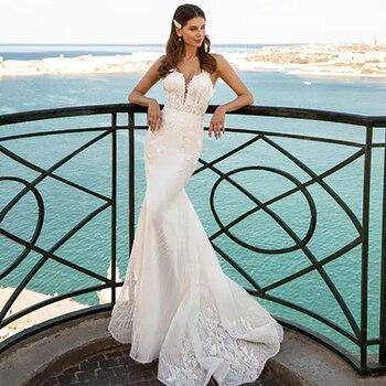Verngo Mermaid Wedding Dress Lace Appliques Gowns V-neckline Vintage Bride Backless Boho 2020