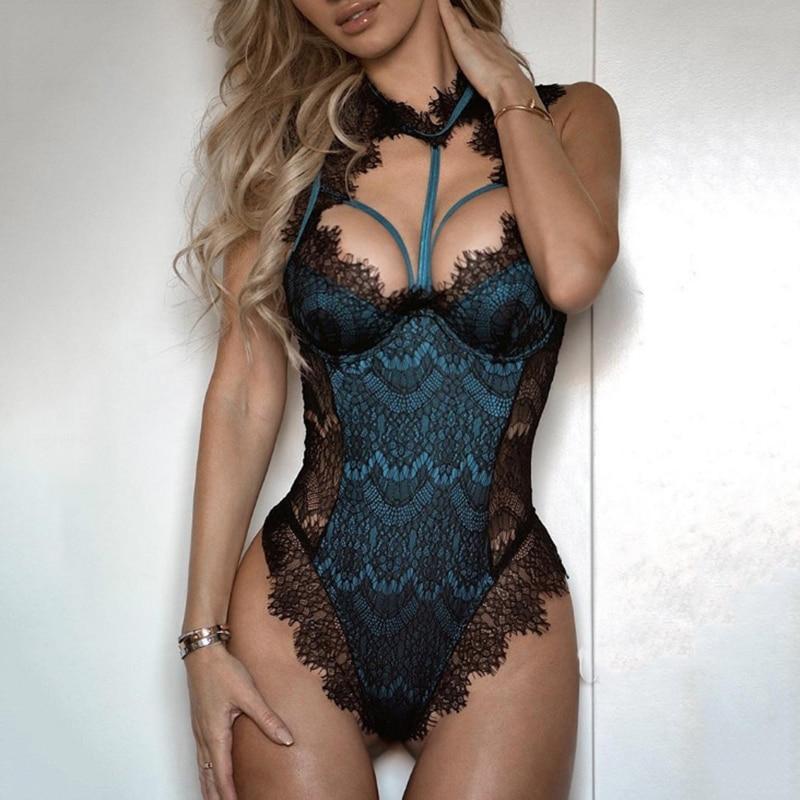 Porno Sexy Lingerie Women Bodysuit Lace Catsuit Hot Erotic Female Bandage Underwear G-string Babydoll Sleepwear Teddies