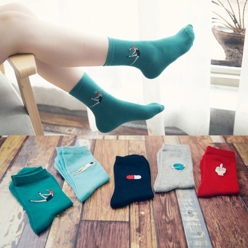 Autumn And Winter Ladies Cartoon Mid Tube Socks Cotton Women Socks Fashion Candy Color Socks Women Socks