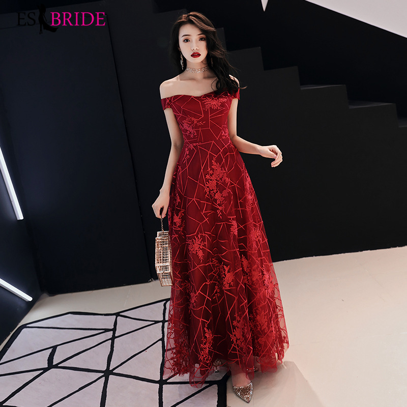 Wine Red Evening Dresses Long 2019 Red Gorgeous Boat-neck Off The Shoulder Wedding Guest Gown Abito Da Cerimonia ES30111
