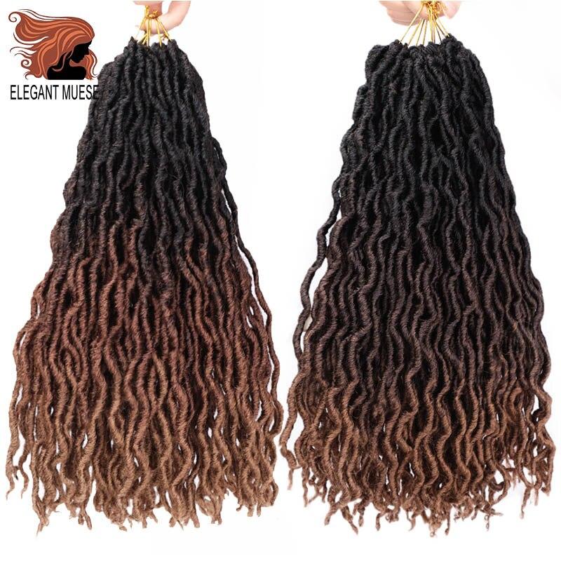 12inch 18inch Ombre Braiding Hair  Faux Locs Curly Crochet Hair Extensions Soft Dreads Crochet Braids Dreadlocks