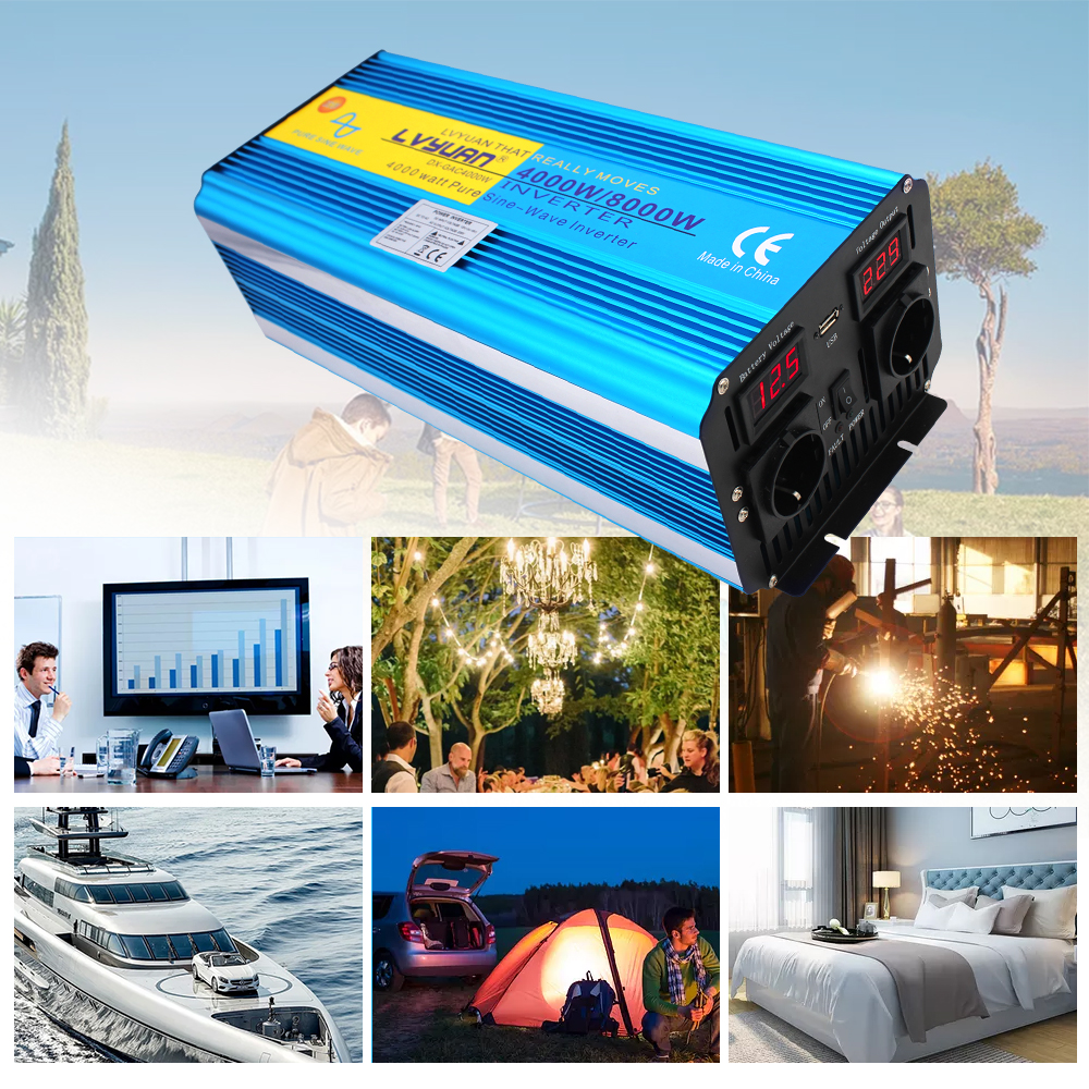 H961aaaa8ab714640ac955a39eed472a36 - 8000W peak power pure sine wave DC 12V/24V TO AC 220V 50Hz or 60Hz solar power inverter with 3.1A USB Dual LED display EU socket