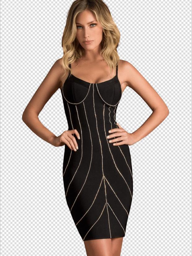 Style d'été Sexy dos nu Spaghetti sangle U cou rayé genou longueur robe de pansement 2019 rayonne dame concepteur robe de soirée Vestido