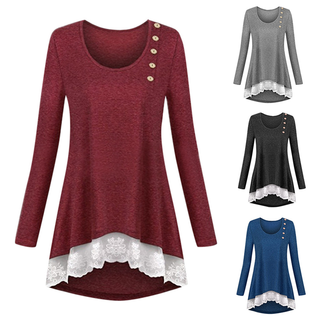 Ladies Casual O-neck Button Solid Color Long-sleeved Loose Blouses Lace Bottom Casual Women Harajuku Fashion Sweatshirts 19Nov08