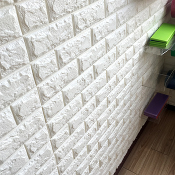 3D Brick Wall Stickers Wallpaper Decor Foam Waterproof Wall Covering Wallpaper For Kids Living Room DIY Background image