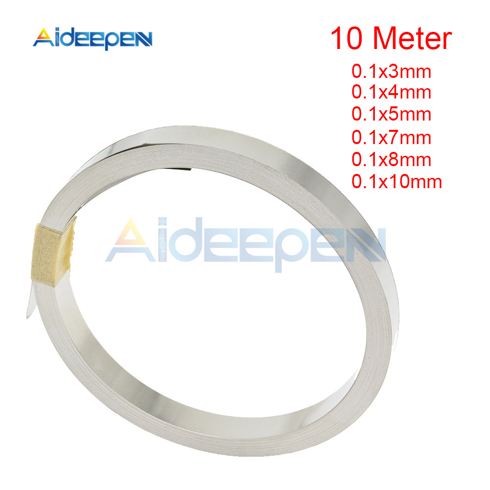 10m 18650 Li-ion Battery Nickel Sheet Plate Nickel Plated Steel Belt Strip Connector For Spot Welding Machine 0.1x3/4/5/7/8/10mm
