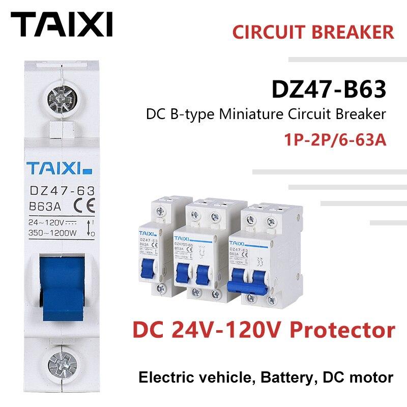 Disjoncteur protecteur de batterie   Disjoncteur pour véhicule électrique tension de 24V 36V 48V 72V 110V 10A 20A 40A 63A 80A 100A 125A 2P mcb