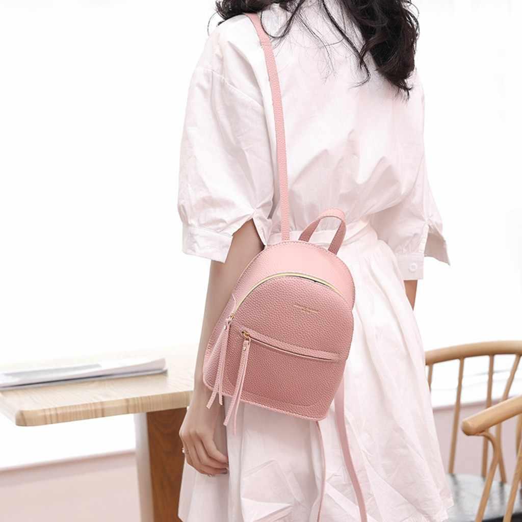 Nữ Nữ Vai Ba Lô Mini Chữ Ví Điện Thoại Di Động Có Túi Ba Lô Sắc DOS Femme Mini Backpac # T5P