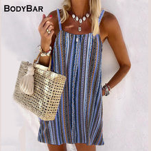 2021 Summer Sling Striped Sexy Dress Elegant Vest Dress Women's Sleeveless Holiday Beach Dresses Loose Plus Size Mini Dress Top