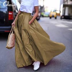 Celmia saias das mulheres verão outono solto praia festa saia moda casual sólido cintura alta maxi saias escritório plus size saia 7