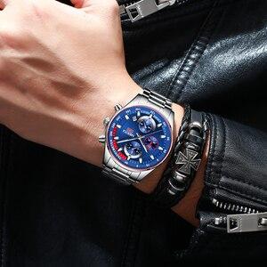 Image 5 - NIBOSI hommes montres haut de gamme Sport Quartz chronographe acier mâle horloge militaire étanche chronographe Relogio Masculino