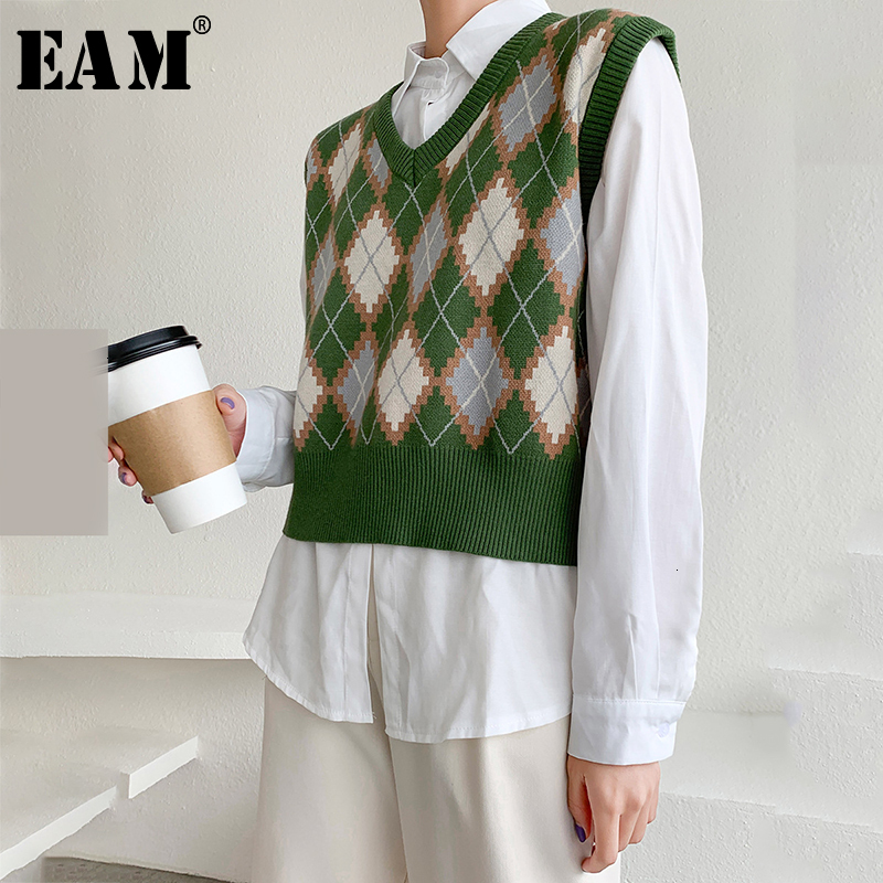 [EAM] Plaid Split Jointwarm Knitting Sweater Loose Fit V-Neck Sleeveless Women New Fashion Tide Autumn Winter 2019 1D889