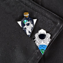 Spaceman Pins Outer Space Rocket Astronaut Planet Hard enamel lapel pins Backpack Jackets Bags Accessories Gifts for space lover(China)