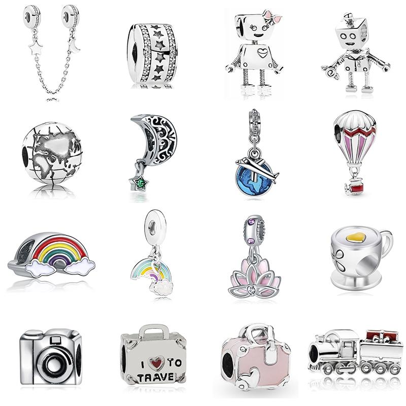 2019 New Original Alloy Bead Holiday Travel Christmas Rainbow Charm Fit Dropship Bracelet Bangle Necklace DIY Women Jewelry(China)