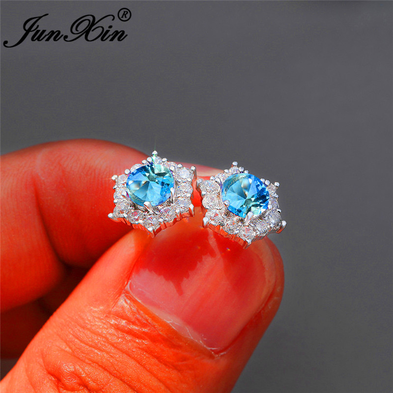 Delicate Small Hexagon Earrings For Women White Gold Colorful Round Aqua Blue Crystal Snowflake Stud Earrings Wedding Jewelry Cz