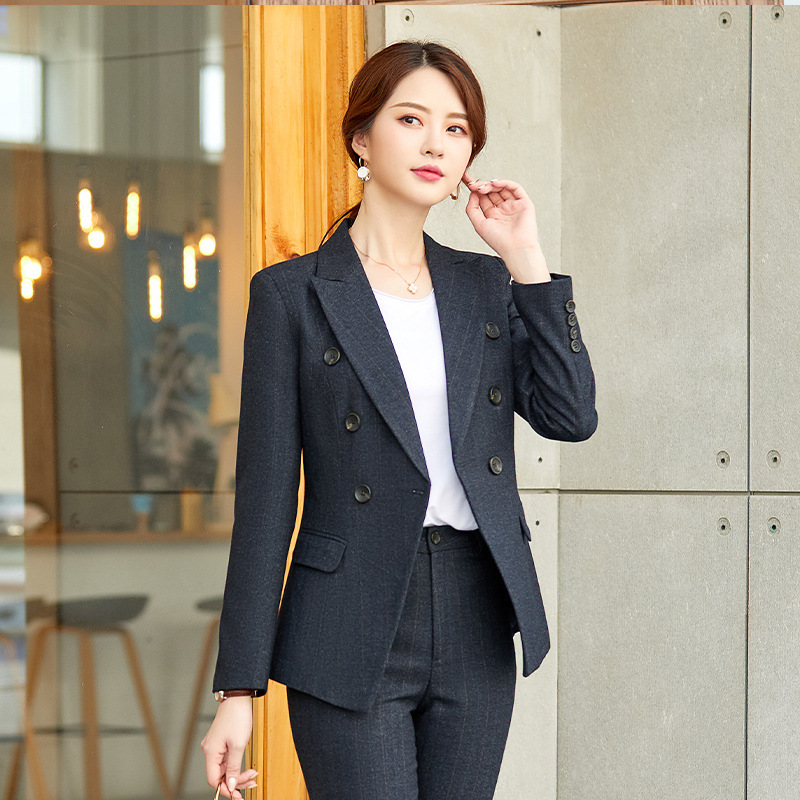 Professional Women's Pants Suit High Quality Slim Large Size Striped Blazer Female Business Office Suit Women's Two-piece 2019