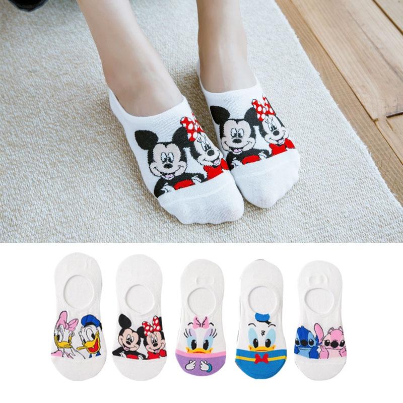 5 Pairs Summer Socks Cotton Invisible Socks Cartoon Animal Mickey Mouse Duck Funny Ankle Socks Women Socks Boat Sock Size 35-40 3