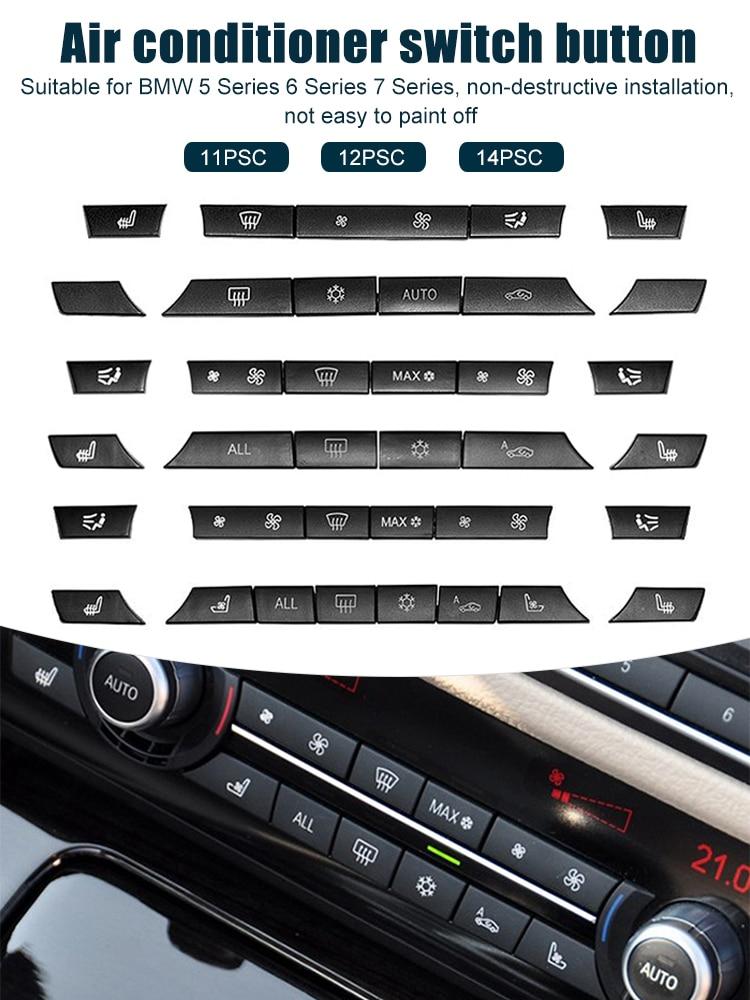 11/12/14 шт. A/C Кнопки нагревателя, набор для ремонта, крышка кнопки переключателя для BMW 5/6/7 серии F01 F02 F06 F07 F10 F11 F12 F13 GT