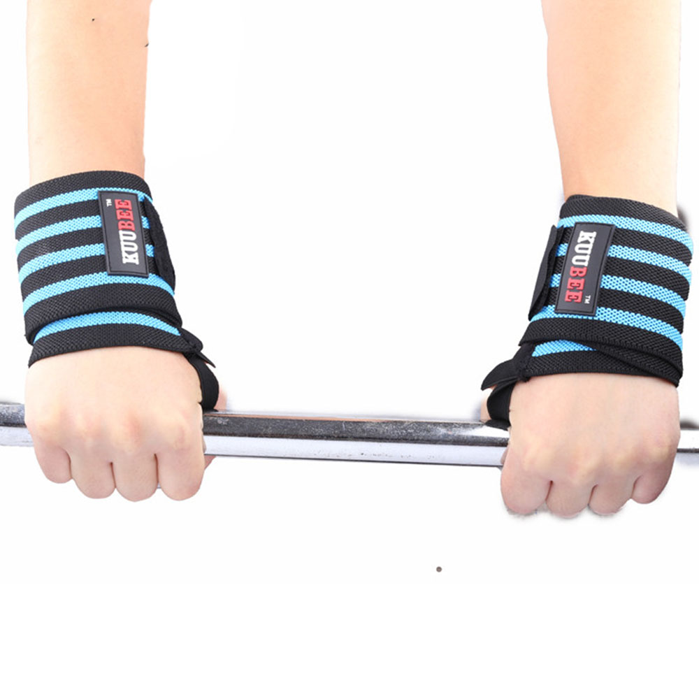2Pcs Weight Lifting Straps Pressurized Sport Safety Elastic Wrist Bands Barbell Support Hand Wrist Wraps