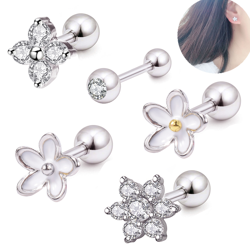 New CZ Crystal Cartilage Barbell Piercing Earrings Set Top Upper Plugs Tunnels Ear Tragus Lip Ring Cartilage Body Jewelry 3PC/l
