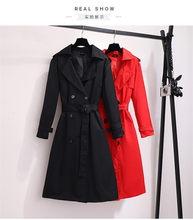 2020 Spring Autumn Long Trench Coat Women Plus Size 5XL 6XL Coat Women black red colors belt Windbreaker Outerwear m269(China)