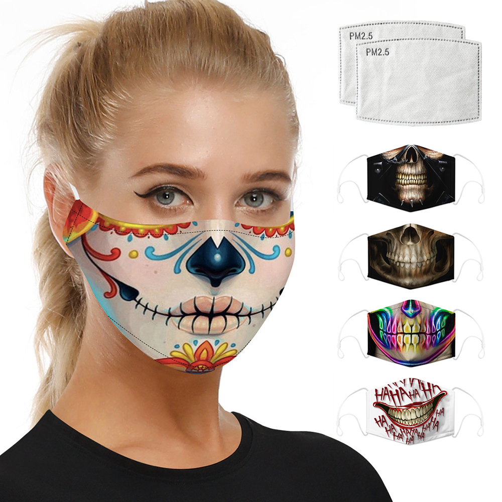 Digital Printing Respirator Masks Face Masks Mouth Caps Activated Carbon Filter Unisex Dust Protective Mask Reusable Face Shield
