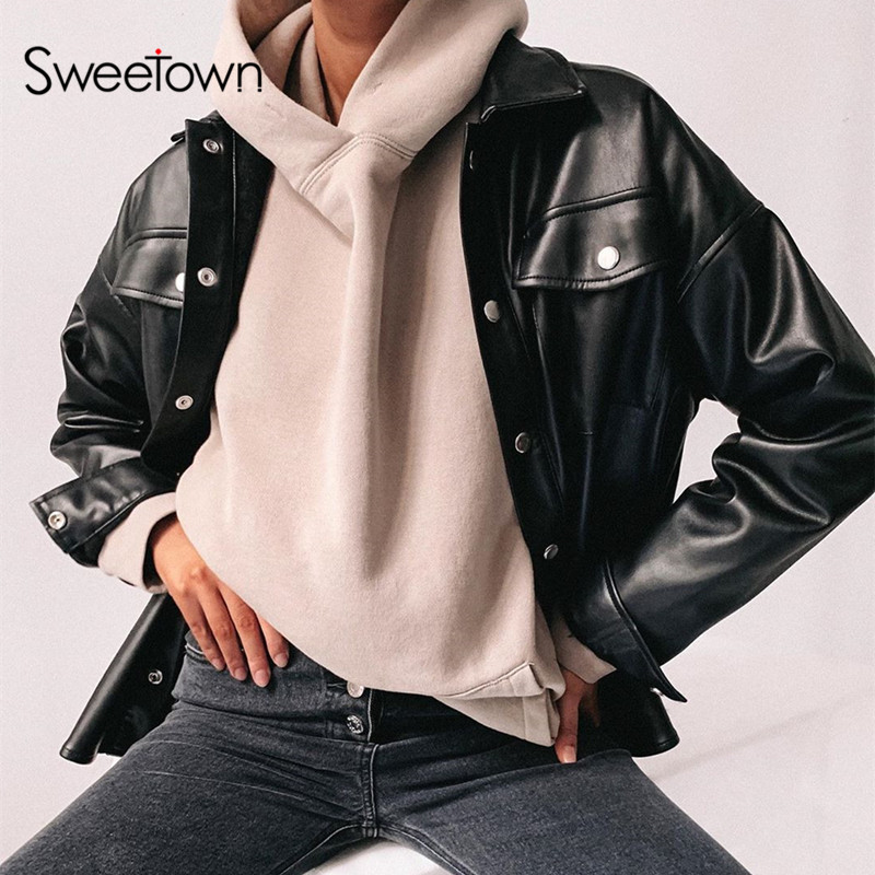 Sweetown Black Faux Leather Blouses Shirt Women Streetwear Covered Button Turn Down Collar Ladies Blouses Manches Bouffantes
