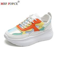 MBR FORCEแฟชั่นChunkyรองเท้าผ้าใบผู้หญิงรองเท้าแบนรองเท้าผ้าใบLace Upรองเท้าสบายๆหนารองเท้ารองเท้าผ้าใบ