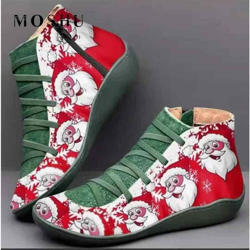 Kadın kış noel çizmeler bayanlar Retro ayakkabı hakiki deri yarım çizmeler kısa peluş düz ayakkabı kadın dantel up Boots Zapatos