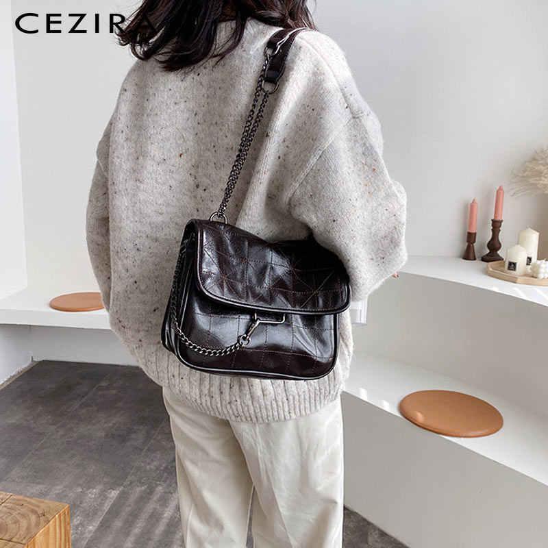 Cezira ファッションビーガンレザーホーボー女性の高級糸デザイン女性フラップクロスボディハンドバッグチェーンメッセンジャーショルダーバッグボルサ