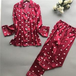 Image 1 - 2019 Satin Pyjamas Women Pajamas Sets with Pants 2019 Flower Print Long Sleeve Silk Sleepwear Pijama Mujer Female Nightsuit