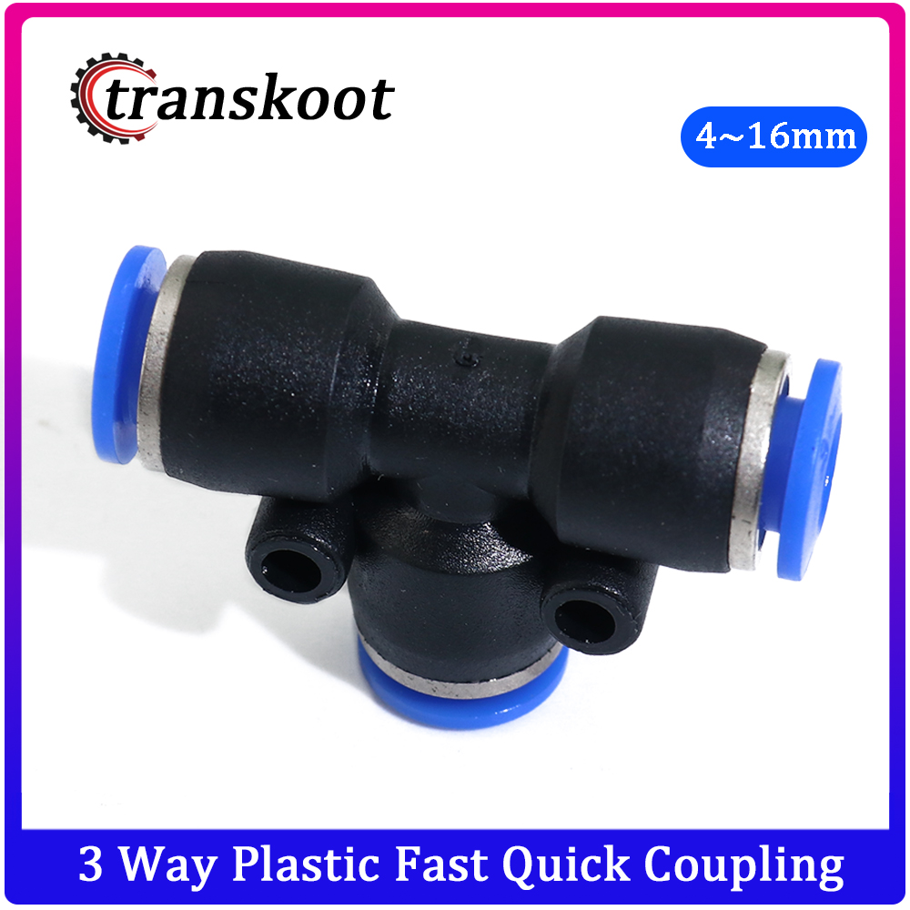 5pcs 3 Way Plastic Fast Quick Coupling Tee Joint Fitting For Hose Tube OD 4mm 6mm 8mm 10mm 12mm 14mm 16mm