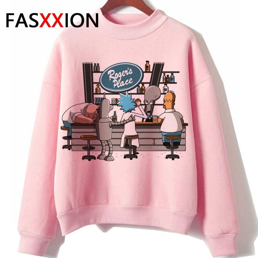 Rick And Morty Pink Hoodie Harajuku Womens Clothing Kawaii Sweatshirt Graphic Fleece Hoddies Korean Streetwear Ulzzang Pullover