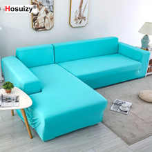 8 Colors Magic Corner Sofa Covers for Living Room Elastic Polyester Fabric Solid Stretch Sectional L Shaped Couch Cover 3 Seater