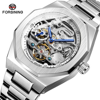 Forsining Fashion Silver Mens Watches Top Brand Luxury Automatic Mechanical Stainless Steel Fashion Business Skeleton Wristwatch
