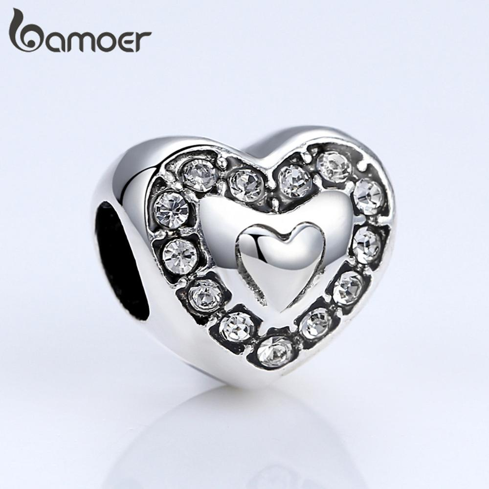 BAMOER Brand New Heart With Crown Charms For Women Pendant & Necklace Fashion Jewelry Party Accessories PA5301(China)