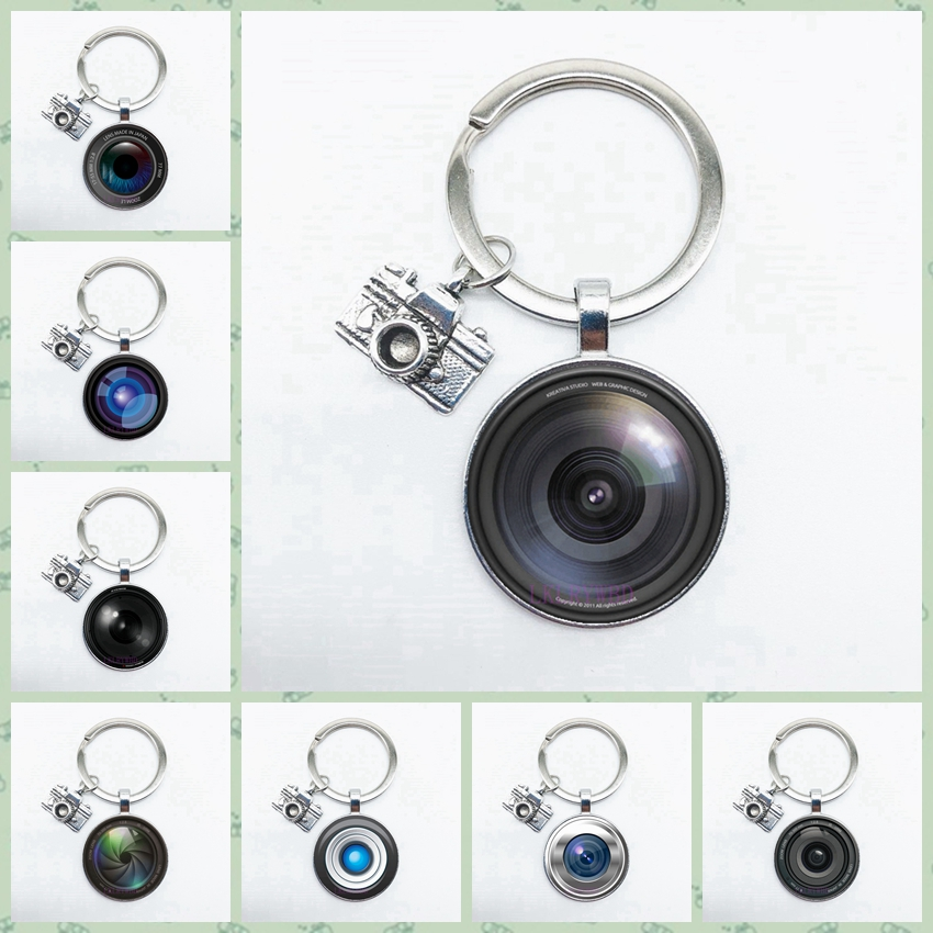 Camera Lens SLR Lens Keychain Round Glass Keychain With Camera Pendant SLR Enthusiast Photographer Keychain Gift
