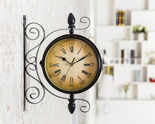 Vintage Nordic Wall Clock Simple Double Sided Metal Iron Wall Clock Pared Grande Large Home Decor Wall Clocks