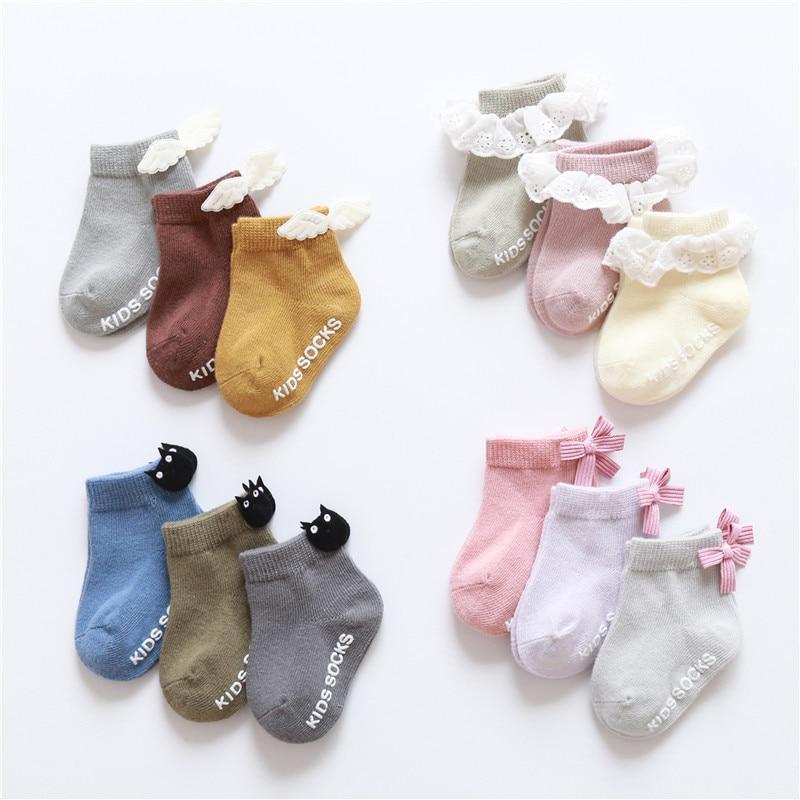 3Pairs/Pack Infant Baby Socks Cute Wings Bowknot Ruffled Lace Anti-slip Floor Socks For Newborn Girls Boys Toddlers Princess