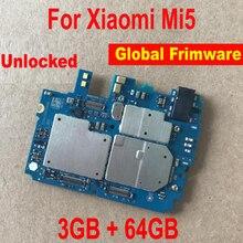 Firmware global de trabalho original desbloquear mainboard para xiao mi 5 mi 5 m5 3 gb + 64 placa de circuito placa mãe taxa cabo flexível
