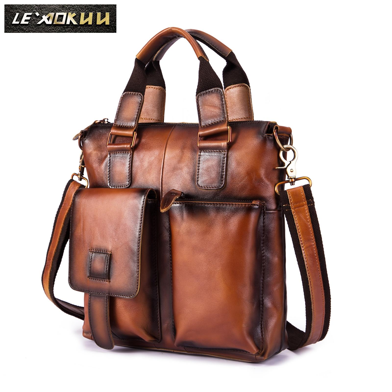 Men Quality Leather Fahion Maletas Business Briefcase 12