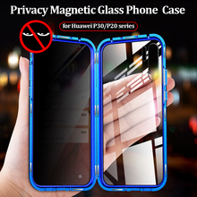 Magnetic Privacy Metal Case for Huawei P30 Pro Cover Anti-spy Double Sided Tempered Glass P30Pro Funda