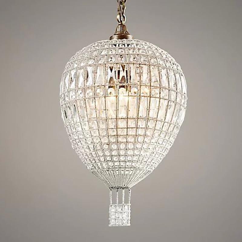 American Luxury Crystal Pendant Lights Loft Indoor Home Decorative Light In Baby's Room Bedroom French Balloon Suspension Lights