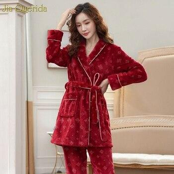 Winter Pajamas Women Long Sleeve Kimono Top Pijama Mujer Flannel Loungewear Quality Couple Winter Pyjamas Couples Pajamas Adult