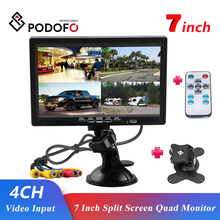 Podofo 7 Inch Split Screen Quad Monitor 4CH Video ingang Voorruit Stijl Parking Dashboard Voor Auto Achteruitrijcamera Auto Styling