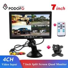 Podofo 7นิ้วหน้าจอแยก Quad Monitor 4CH วิดีโออินพุตกระจกสไตล์ที่จอดรถแดชบอร์ดสำหรับรถยนต์ด้านหลังกล้อง จัดแต่งทรงผม