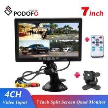 Podofo 7 pollici schermo diviso Quad Monitor 4CH ingresso Video stile parabrezza cruscotto parcheggio per auto telecamera posteriore Car styling