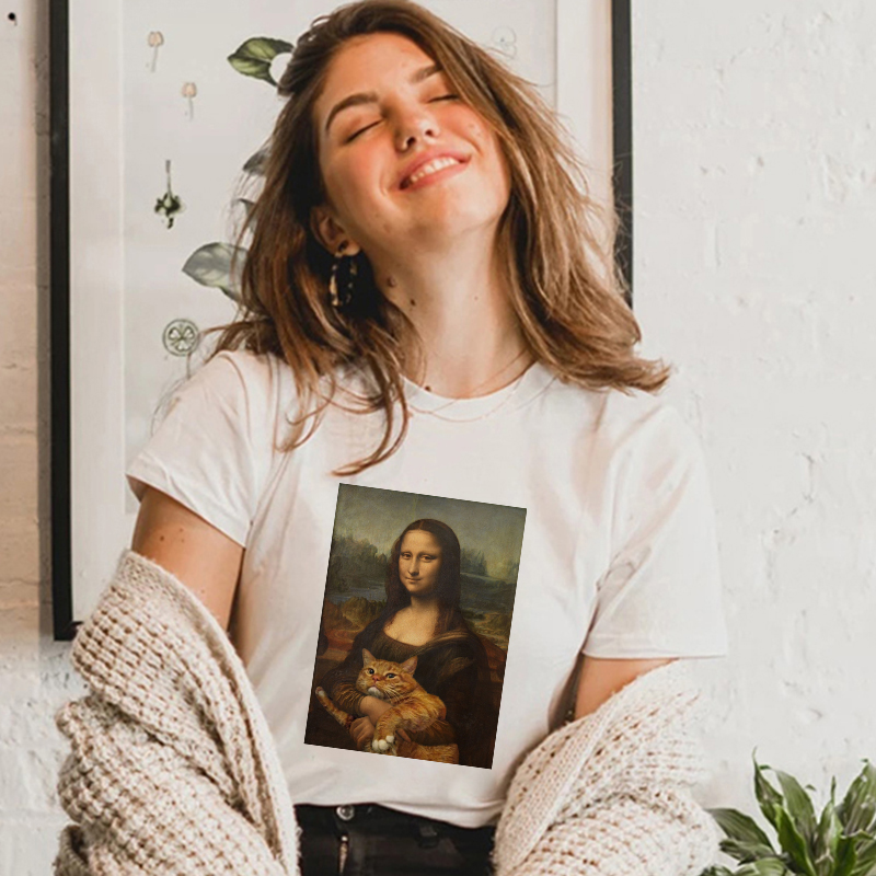 Lei SAGLY Mona Lisa Holds The Cat Oil Painting Women T-shirts Harajuku Ulzzang Oversized T Shirt Korean  Casual Short Sleeve