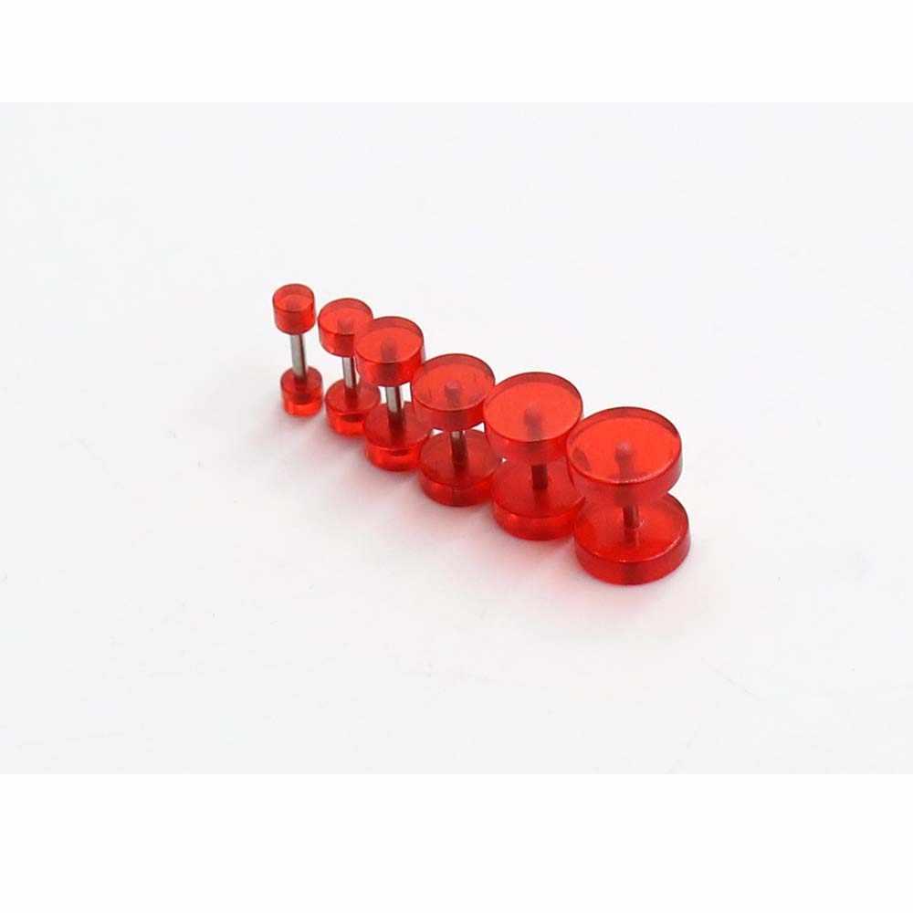 2pcs פו מד עגילי מזויף אוזן Plug ניאון אקריליק 3-8mm רמאי בשר מנהרת מחוונים נרות אלונקה גוף פירסינג